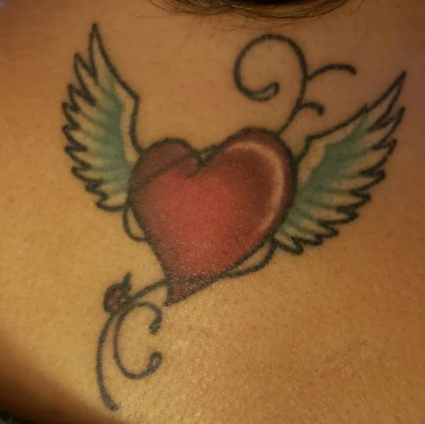 Heart & Wings Tattoo with Initials tattoo