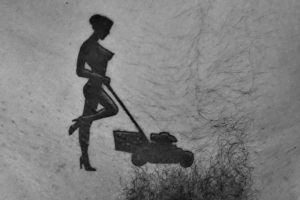Lawnmower lady at work tattoo