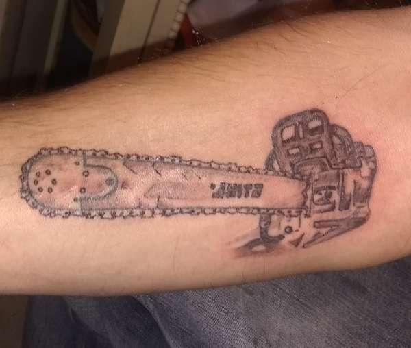 """STIHL CHAINSAW"" tattoo"