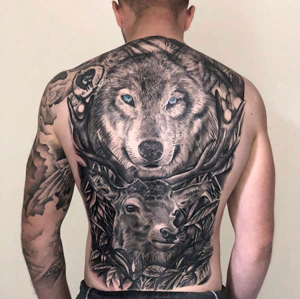 Wolf and Stag Backpiece tattoo