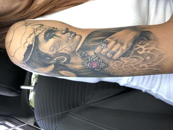 half sleeve sugar skull/gypsy woman tattoo