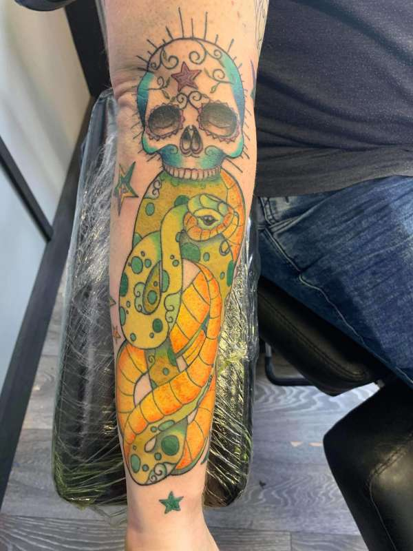 Snake and sugar skull tattoo