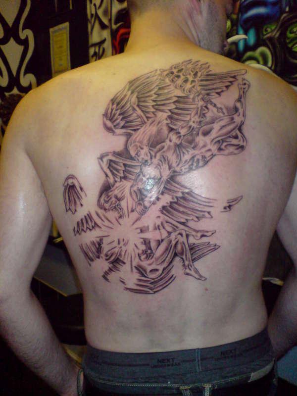 lucifer vs st michael tattoo