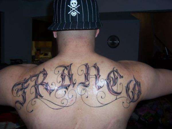 My last name tattoo for Last name tattoos on back