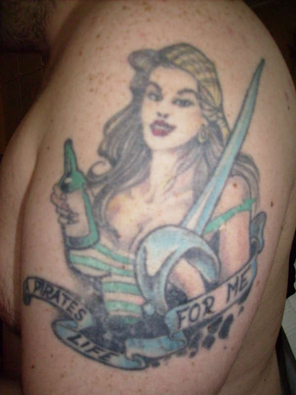 Female pirate tattoo