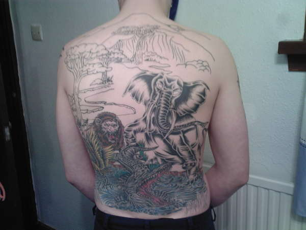 Jungle scene tattoo
