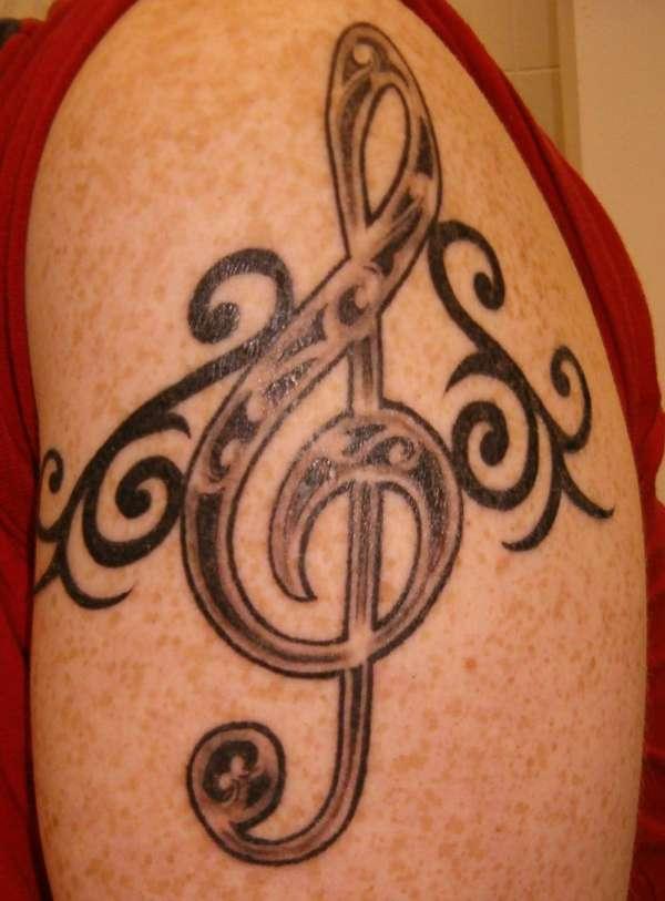 celtic treble clef tribal tattoo. Black Bedroom Furniture Sets. Home Design Ideas