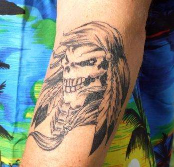 Bad Ass Native American Skull tattoo