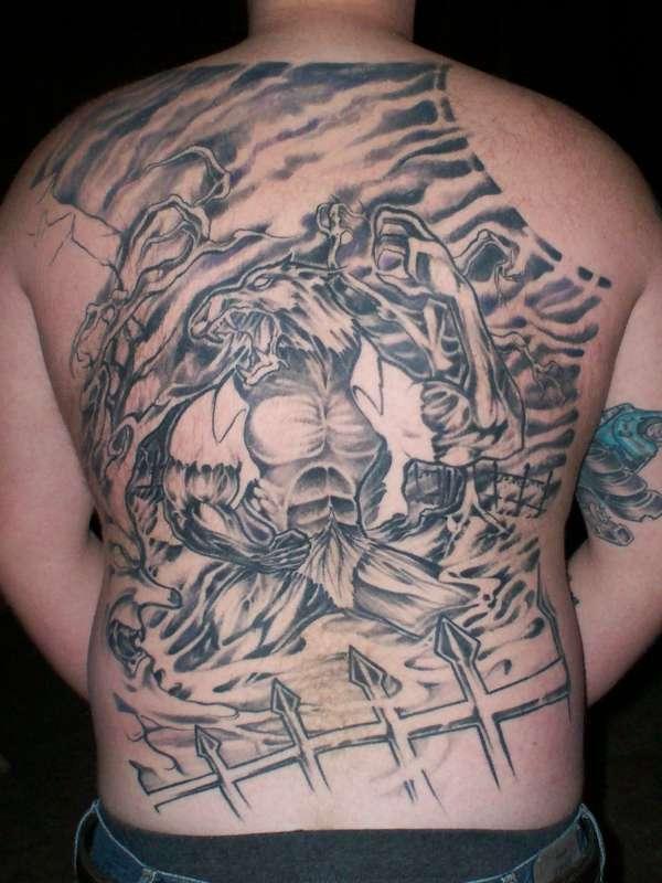 Werewolf Back Piece tattoo