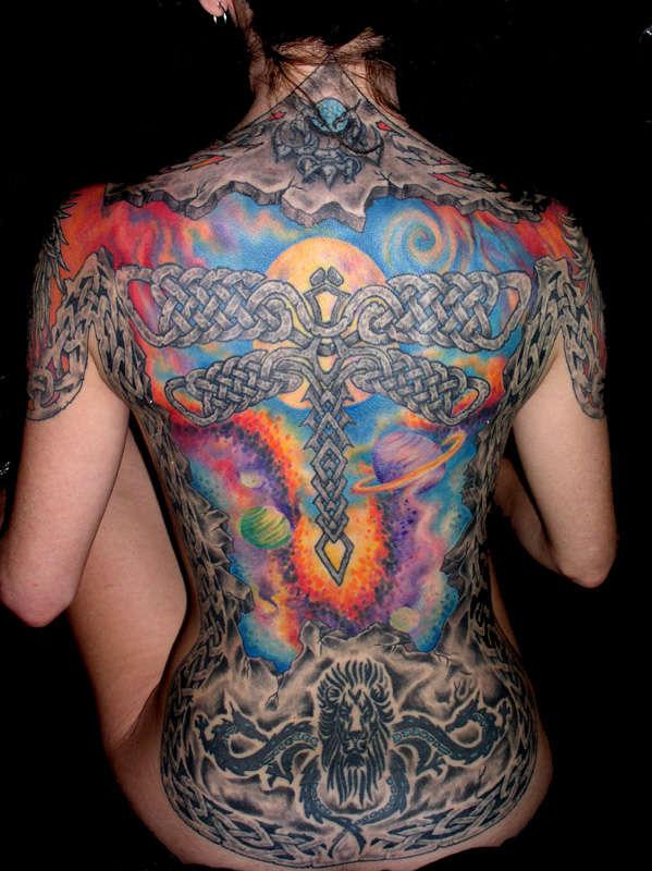 Stone Celtic Back piece tattoo