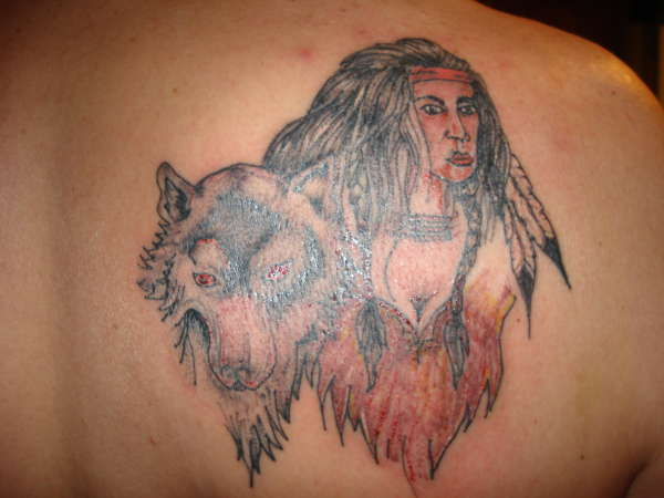 indian and wolf tattoo