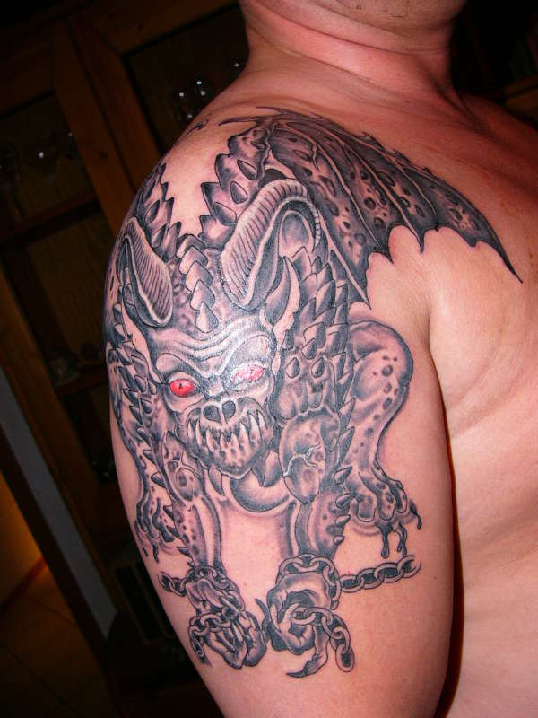 Demon w/Red Eyes tattoo