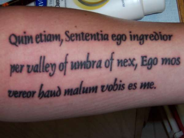 latin bible phrase tattoo
