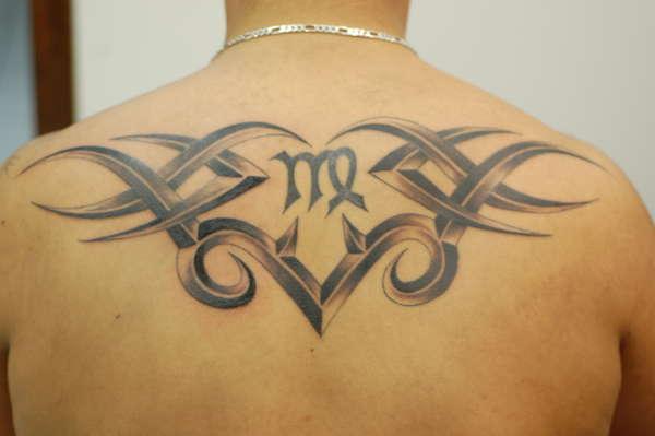 Tribal With Virgo Symbol Tattoo