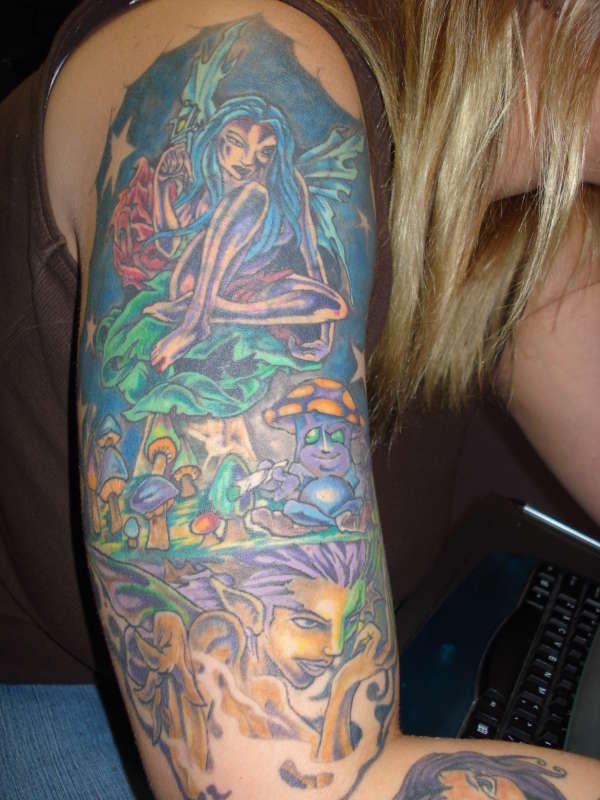 Fairies & Mushrooms tattoo