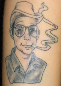 Portrait charicture of hunter s thompson tattoo for Cheap tattoos las vegas