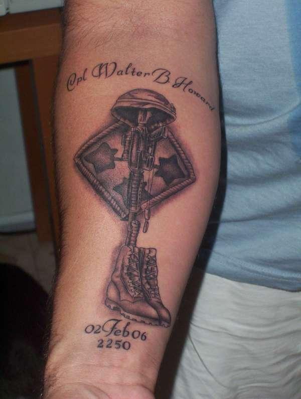 Fallen soldier tribute tat tattoo for Fallen soldier tattoo