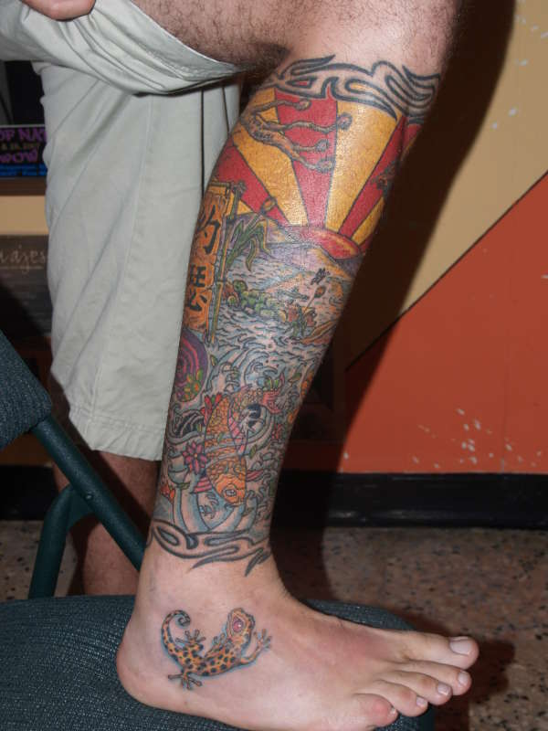Chinese mural in leg tattoo for Arm mural tattoos