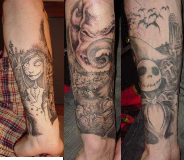 Nightmare Before Christmas half sleeve (work in progress) tattoo