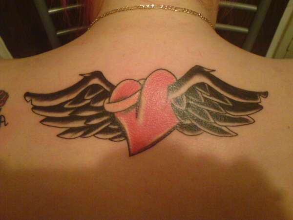 heart with wings and halo tattoo