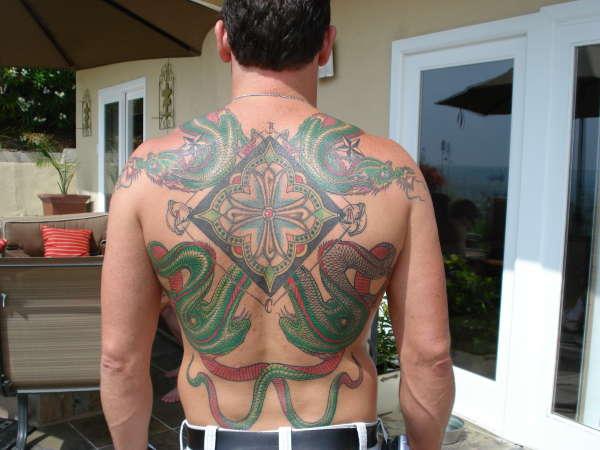 Dragon before shading tattoo