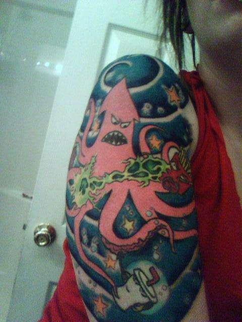 aqua teen half sleeve tattoo