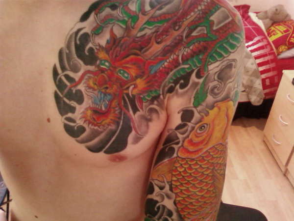 Koi & Dragon sleeve tattoo