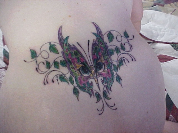 Her second butterfly tattoo