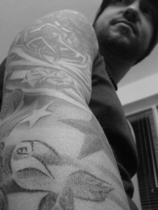 Half Sleeve black and white tattoo