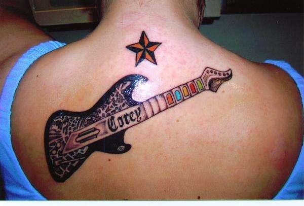 Corey's Guitar & Star tattoo