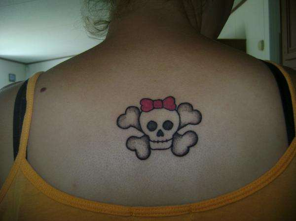 Skull with crossbones & pink bow! tattoo