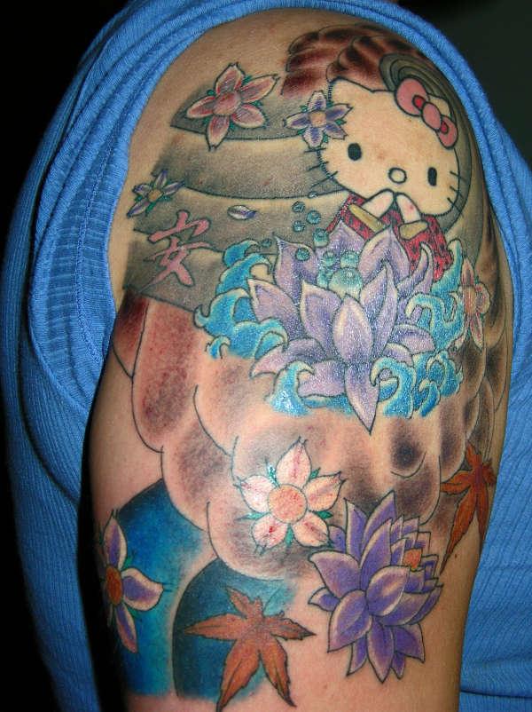 Hello kitty 2 tattoo for Hello kitty tattoo sleeve