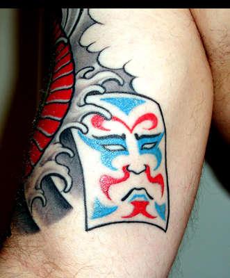 Japanese style snake (inner view of Kabuki) tattoo