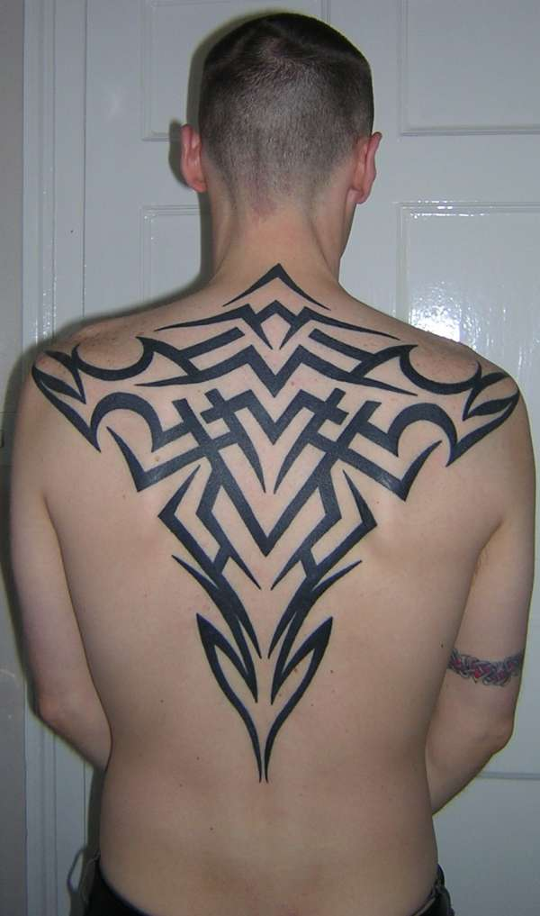 tribal back piece tattoo. Black Bedroom Furniture Sets. Home Design Ideas
