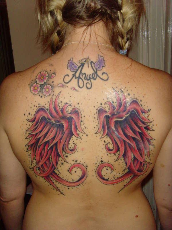 pink angel wings colour added not healed yet tattoo. Black Bedroom Furniture Sets. Home Design Ideas