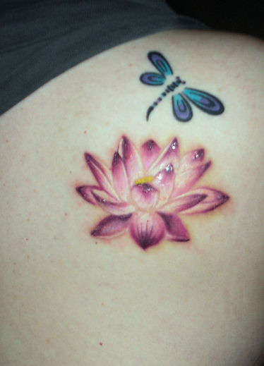 Lotus & Dragonfly tattoo
