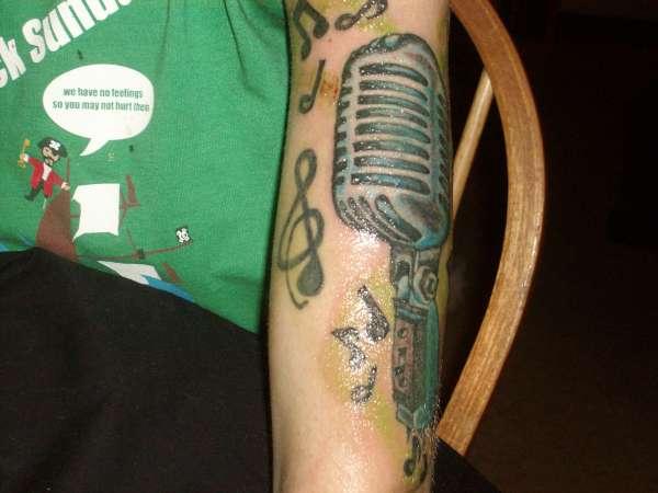 old school mic tattoo