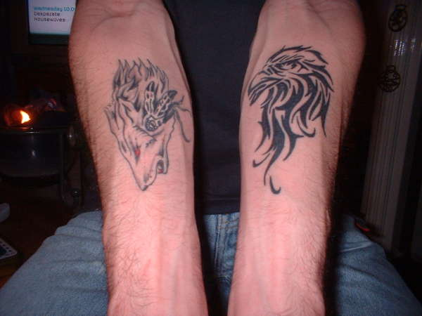 wolf/eagle tattoo