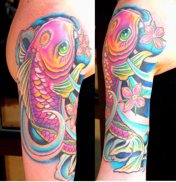 neon koi tattoo
