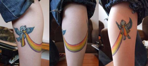 Somewhere over the rainbow, blue birds fly. tattoo