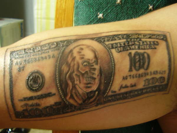 Hundred dollar bill tattoo