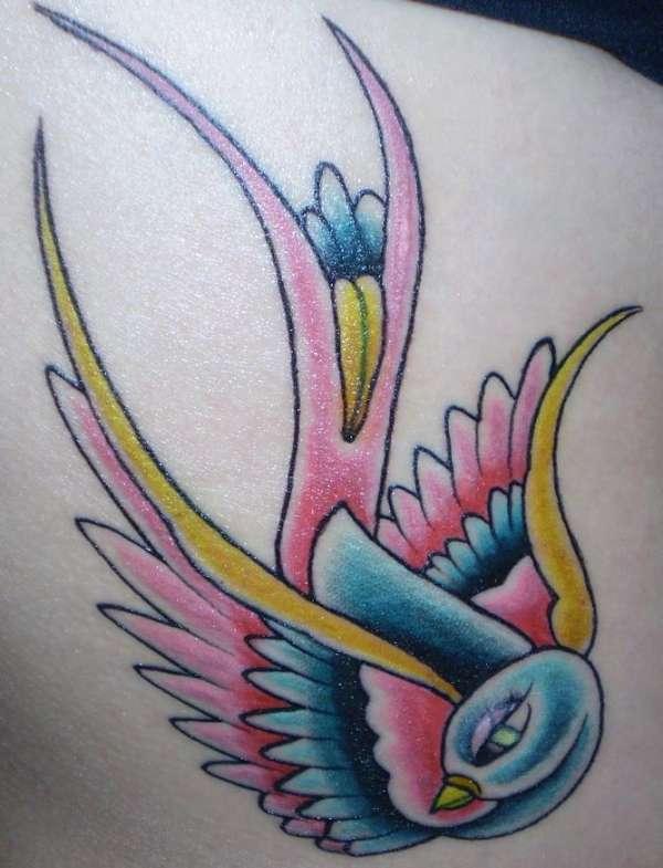 rib shot swallow tattoo