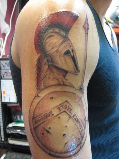spartanshield and spear tattoo