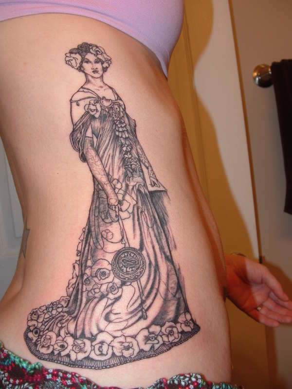 Alphonse Mucha on Side tattoo