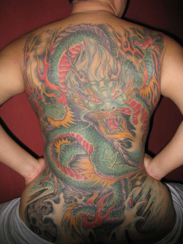 FIRST TAT, FULL BACK DRAGON tattoo