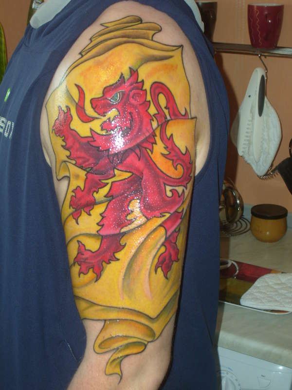 Scottish Rampant Lion Flag tattoo