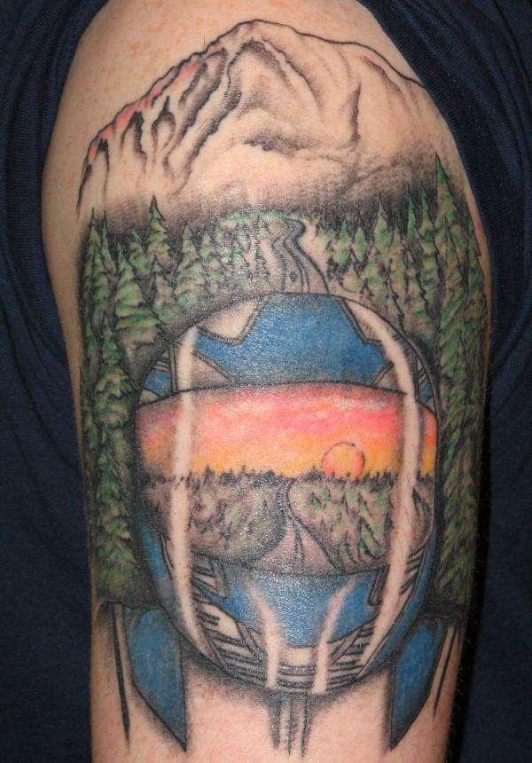 Full Motorcycle Helmet >> Riding into the sunset -Motorcycle Helmet/Mountain tattoo