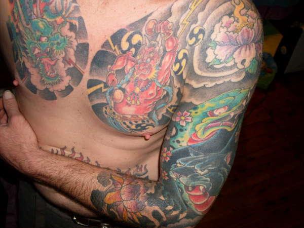 japanese chest arm tattoo. Black Bedroom Furniture Sets. Home Design Ideas