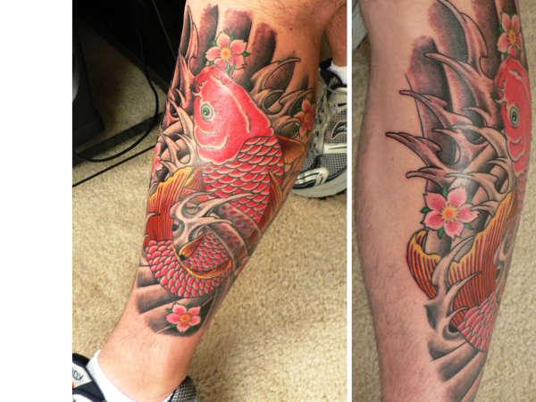 Finished red koi tattoo for Red koi tattoo