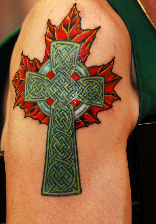 celtic cross on maple leaf tattoo. Black Bedroom Furniture Sets. Home Design Ideas